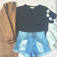Black crop top, high waisted shorts, white converse, a flower crown, and a cute Cardigan.