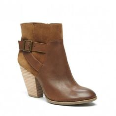 Cognac leather & suede bootie with a stacked heel and a cool side buckle