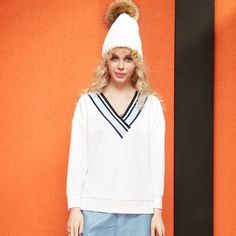Elf Sack autumn loose color block V-neck girls white T-shirt| elfsack