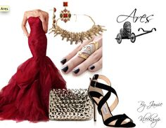A formal look inspired by the greek god: Ares. Fans of Greek Mythology or the Percy Jackson series would like this look