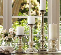 Antique Mercury Glass Pillar Holders