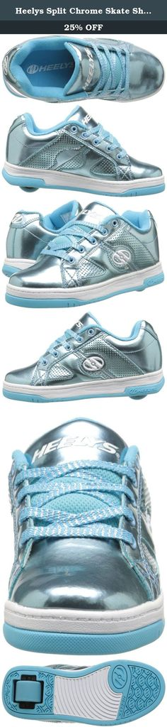 Heelys Split Chrome Skate Shoe (Toddler/Little Kid/Big Kid), Blue, 8 M US Big Kid. Lo-top silhouette with a wide skate body. Chrome-tinted Synthetic patent leather upper. Full lace-up closure for a snug, adjustable fit. Padded collar and tongue for added comfort and support. Heelys® logo at sides, heel, and tongue. Heelys Wave Comfort Heel Bracket provides comfort and stability. Matched molded tongue logo. Faux vulcanized cupsole with rubber outsole. Abrasion-resistant brake pad. ABEC 1...
