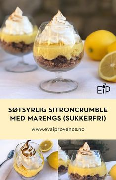 SØT OG SYRLIG SITRONCRUMBLE MED MARENGS (SUKKERFRI OM DU VIL) Creme Brulee, Bon Appetit, Tart, Cereal, Pudding, Breakfast, Desserts, Food, Morning Coffee