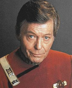 "'Dr. Leonard ""Bones"" McCoy' on the ""Star Trek"" series of movies and television shows. Jackson DeForest  Kelley Was an American actor known for his iconic roles in Westerns and as Dr. Leonard ""Bones"" McCoy of the USS Enterprise in the television and film series Star Trek. Born in Toccoa, GA"