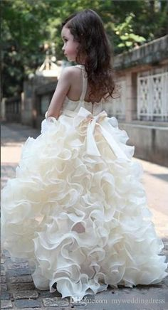 2015 Junior Flower Girls Dresses For Weddings Ivory V Neck Organza High Low Toddler Formal Ruffles Dress Little Girl Pageant Long Kids Gowns Puffy Flower Girl Dresses Flower Girl Headpieces From Myweddingdress, $111.26| Dhgate.Com