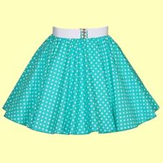 Childs Turquoise Green with White Polkadot Full Circle Skirt