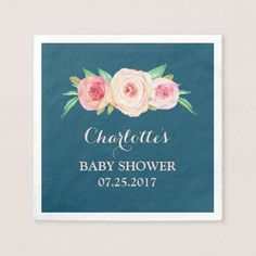 Blush Pink Watercolor Floral Navy Blue Baby Shower Napkin