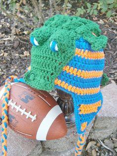 Florida Gators Inspired Alligator Crochet Hat, custom made - newborn to adult sizes available on Etsy, $33.00