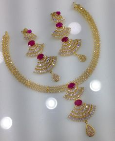 Clic Cz And Ruby Stone Necklace With Chandbali Earrings Code Sn 1052 Price 2795 Whatsap To 09581193795 For Order Processing