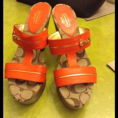 Coach mule Tangerine orange wooden heel. Beautifully detailed with gold detailing. Dress these up or down. Coach Shoes