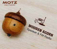 Tiny Wooden Speaker (Built-in FM Radio) for iPod and MP3 Player (100% Made in Handicraft) $40