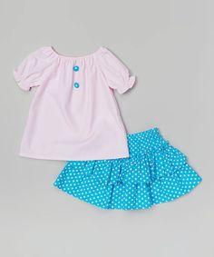 Loving this Pink Polka Dot Ruffle Tee & Skirt - Infant, Toddler & Girls on #zulily! #zulilyfinds
