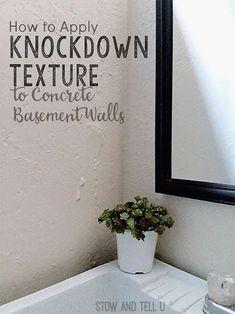 How to Apply Knockdown Texture Concrete Basement Walls | stowandtellu.com Painting Basement Walls, Painting Concrete Walls, Unfinished Basement Walls, Concrete Basement Walls, Diy Finish Basement, Painting Textured Walls, Industrial Basement, Cement Walls, Basement Flooring