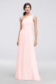 Crinkle chiffon and matte crepe combine to form one stunning bridesmaid  dress. This long one-shoulder style features flattering ruching and a  grosgrain ... b5c59c41d035
