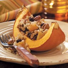 Brown Rice in Roasted Pumpkin. Wash pumpkin; cut into six wedges. Remove loose fibers and seeds from the inside and discard or save seeds for toasting. Brush wedges with oil. Place onto an ungreased 15-in. x 10-in. x 1-in. baking sheet. Bake at 400° for 35-40 minutes or until tender.