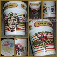 Vintage 1981 Joe Montana San Francisco 49ers Superbowl 16 Gold-n-Soft Margarine Container XVI NFL Football Souvenir drinking tumbler by kookykitsch on Etsy