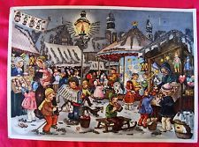 Vintage German Christmas Advent Calendar 1950's #30 Children Village Glitter