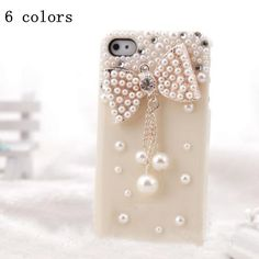 Crystal Cute Pearls 3D Silver Bow Bowknot Bling luxury For iPhone 4G 4S 5 5th  Best item ever seen, with very good price! Recommend!