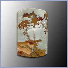 Rocky Butte Picture Jasper cabochon, portrait of a beautiful tree against a light blue sky with gold, green, and red landscape, x Minerals And Gemstones, Crystals Minerals, Rocks And Minerals, Crystals And Gemstones, Stones And Crystals, Gem Shop, Picture Rocks, Beautiful Rocks, Jasper Stone