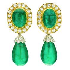 DAVID WEBB Diamond Emerald Clip-On Drop Earrings - Sign Jewelry