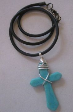 Turquoise Wire Wrapped Magnesite Cross On Black Cord Necklace | 123gemstones - Jewelry on ArtFire