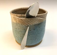 Ceramic Sugar Bowl Salt Cup Turquoise Matt with Spoon rest