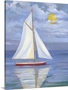 Greatbigcanvas Serene Sailboat I By Paul Brent Sailboat Drawing, Sailboat Painting, Easy Canvas Painting, Abstract Canvas, Canvas Art, Canvas Prints, Art Prints, Acrylic Paintings, Nautical Painting