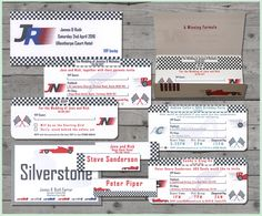 Formula 1 themed collection of stationery Stag party, Bachelor Party, Retirment party, 50th Birthday, 40th Birthday, Wedding invitations, reception stationery. Silverstone, Nurburgring, F1, cars, racetrack, Ferrari, male stationery www.wearetickledpink.co.uk