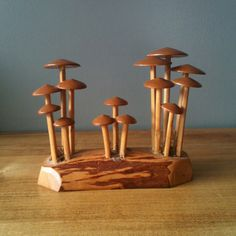 Vintage Russian Made Wooden Mushrooms