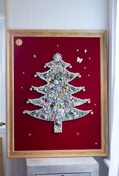 You can have the spirit of Christmas all year round with this retro framed jewelry Christmas tree, Created with vintage jewelry, it's elegant and funky. Made with lots of jewelry in the late 60s to ea