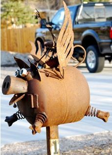 """""""When pigs fly."""" Yes it really is a mailbox"""