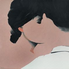 #4, Man and woman kissing / love. The implied lines in this piece of art is in the hair, shadows in the eyelid, in the chin and neck, and in the man's white shirt. This use of light and dark colors help to depict the picture.
