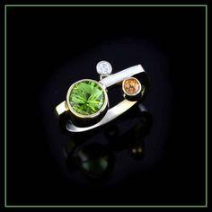 Spessartite Garnet, Peridot and diamond ring - Garnet - Birthstone for January Jewelry by Baytowne Jewelers