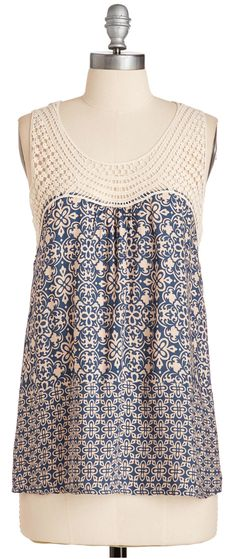 "Inspiration for yokes for summer nighties. ""Like this - interesting pattern and w the knit top."""