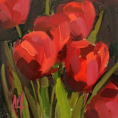 Red Tulips no. 10 original floral oil painting by Angela Moulton 6 x 6 inch on birch plywood panel pre-order by prattcreekart on Etsy