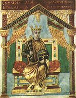 Charles the Bald in old age; picture from his Psalter  (85 KB)   Courtesy of Wikipedia.org (Click on Picture to View Full Size)