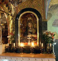 Chapel of the Stabat Mater (Sorrowful Mother) Holy Sepulchre, Jerusalem.   Stabat Mater Dolorosa is considered one of the seven greatest Latin hymns of all time. It is based upon the prophecy of Simeon that a sword was to pierce the heart of His mother, Mary (Lk 2:35).  Go here for the text, translation and more: http://bit.ly/Hhc0WP