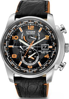Citizen WORLD TIME AT LIMITED EDITION BLACK DIAL LEATHER STRAP Mens Watch AT9010-28F BY Citizen