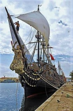 Pirate ship in Sousse Harbour, Tunisia.