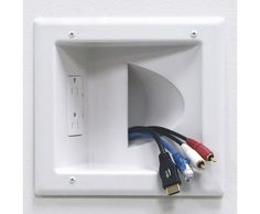 DataComm Electronics 45-0031-WH Recessed Low Voltage Media Plate with Duplex Receptacle, White