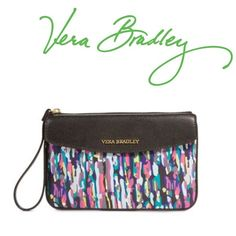 Vera Bradley Watercolor Brushstrokes Wristlet Absolutely beautiful and versatile Vera Bradley watercolor brushstrokes envelope wristlet. New without tags. Has a snap opening with a front pocket and a zipper opening with access to the main storage area that has three card pockets on the inside. Perfect condition. Hardware is gold. Many colors so it matches so many things. Great for a night out! Vera Bradley Bags Clutches & Wristlets