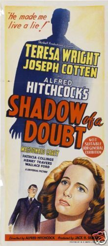 Shadow of a doubt Alfred Hitchcock vintage movie poster