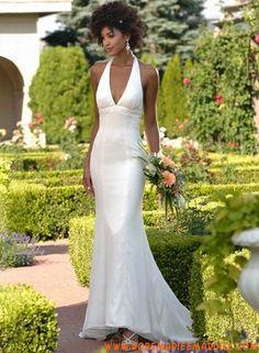 Robe sirène en satin et organdi robe de mariée pas chère
