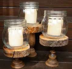 Rustic Mason Jar Candlestick Holders/Home by BACUSTOMPRODUCTS