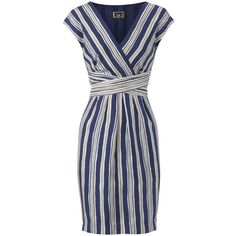 NW3 Cross Over Stripe Silk Dress, Multi ($50) ❤ liked on Polyvore featuring dresses, vestidos, платья, blue, empire line dress, stripe dresses, cross over dress, silk dress and slim fit dress