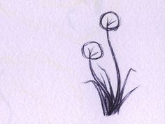 Kat Johnston Sketch - a little pair of dandelions sitting in the grass, a little rough sketching to make the day go past.