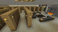 Minecraft Library Room Fireplace Home Decor