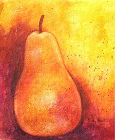 Pear, Fruit, Food - House Warming - FREE SHIPPING - Sale - was 49.00 - Original Fine Art Watercolor Painting  by ebsq Artist Ricky Martin