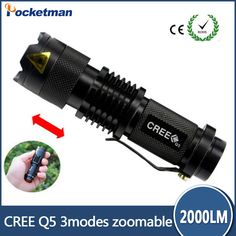 High Quality CREE Q5 Waterproof 3 Modes Mini LED Flashlight Adjustable Focus Zoomable Torch Lights #Affiliate