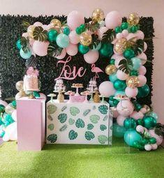 Beautiful Pink & Mint Rose Gold Confetti Balloon Garland Kit-Party Decorations - New Deko Sites Hawaiian Birthday, Flamingo Birthday, Luau Birthday, First Birthday Parties, Birthday Party Ideas, Luau Party, Ideas Party, Summer Party Themes, Tropical Party Themes